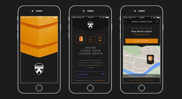 Konas smart luggage app for iOS and Android